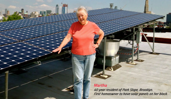 Rooftop solar hooked up to Brooklyn microgrid with local resident, Martha