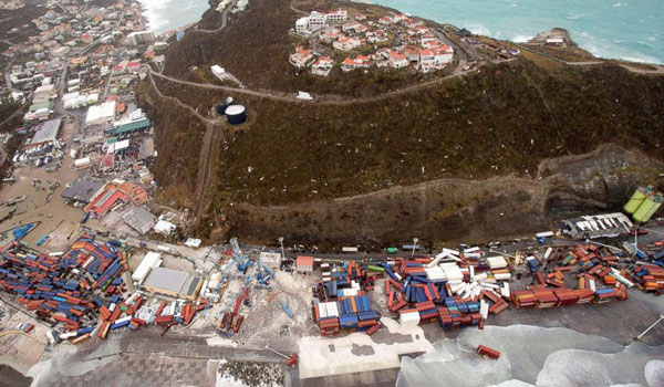 Devastation on the island of St Martin after hurricane Irma